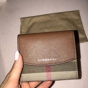 Burberry check folded wallet